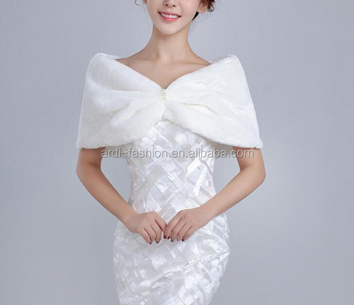 cheap best-selling fuax fur wedding shoulder wrap white wedding fox fur cape wrap