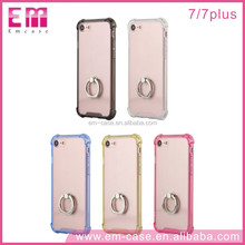 Crystal Clear Transparent Case Over For iPhone 7plus, For iPhone 7 Mobile Phone Case with ring holder