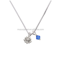 Fashion jewelry wholesale 925 sterling silver lotus charm pendant necklace 18''