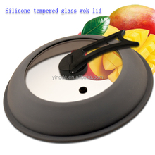 Heat resistant microwave handle cover universal wok tempered glass silicone lid