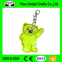 double sides logo printed cheap pvc reflective keychain , bear shpaed reflective keyring , promotional key