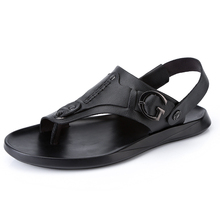 2018 Sexy Mens Genuine Leather Gladiator Flip Flops Sandals Summer Shoes Rotatable Ankle Strap Rubber Sole For Men Wholesale