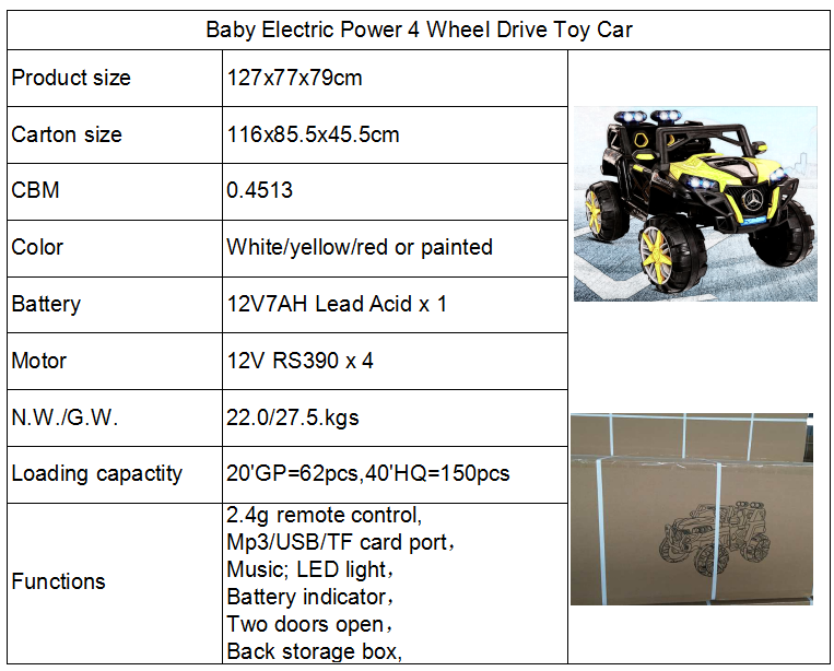 Big Electric Plastic Baby Battery Car Toy For Kids