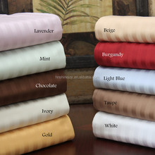 Customized all colors king size bed linen 330TC 100% cotton plain satin stripe hotel bedding set
