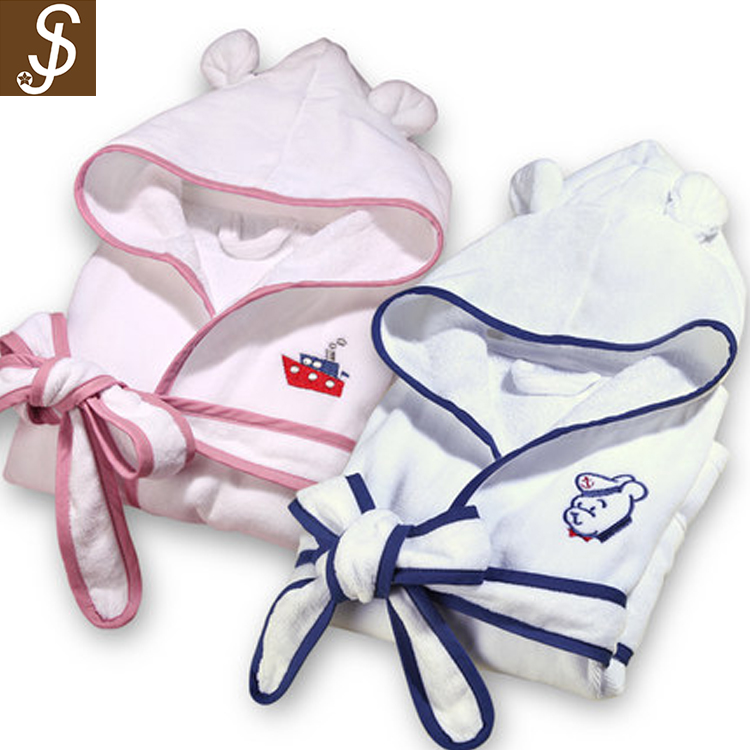 S&J soft comfortable bathrobe kids lovely embroidery hooded kids pajamas sleepwear