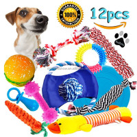 Cheap funny 12 pack pet dog rope toy play set gift 2017 China YIWU factory squeaky chew pet toy dog