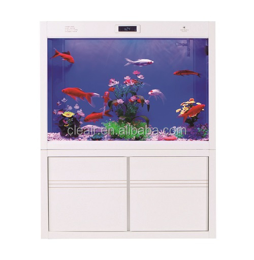 Elegant Cleair Glass Wall Aquarium MAZH900 with LCD and Arcrylic decoration