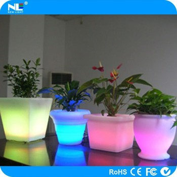 Battery operated plastic led light up flowerpot with 16 colors changable