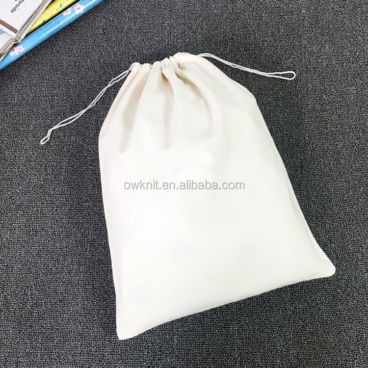 Promotion Custom Printed Muslin Shopping Plain Canvas Cotton Drawstring Bag