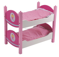 Double Decker, or Two SingleDoll Bed, Double Bunk Bed, Pretend & Play Wooden Toy Bed, Wooden Furniture Bed Toy