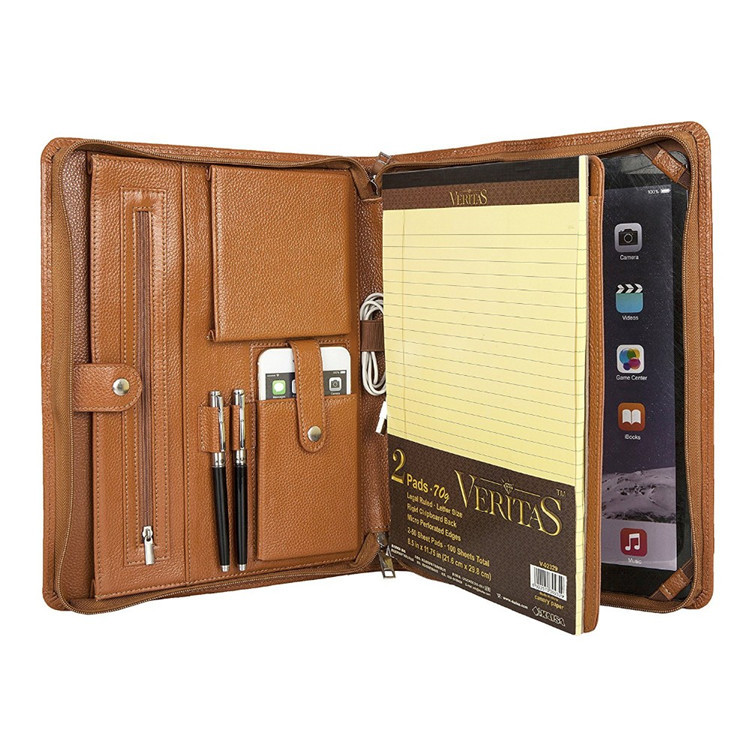Shenzhen File Folder Customized Travel Document Holder Zippered a4 PU leather Portfolio Folder with Notepad