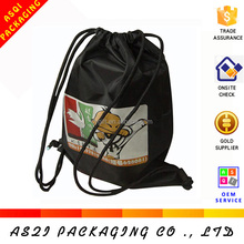 promotional 4 color heat transfer black cartoon drawstring bag for packing