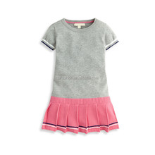 New style one piece knitted sweater type short sleeve baby dress designs
