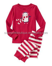 cheap soft smocked penguin kids christmas pajamas