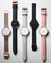 Vogue Ladies Watches,New Design Wholesale Elegant Style RoseGold Stainless steel Leather Strap WristWatches