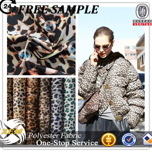 imitated memory leopard print fabric for quilted bomber jacket