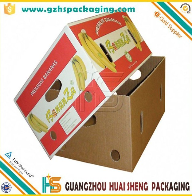 Hot sales factory price custom color printed banana box with die-cutting hole