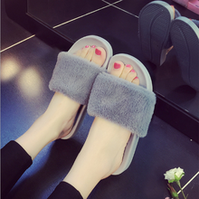 New Fashion Indoor Outdoor Antiskid Slippers Faux Fur Wearproof Women Slippers