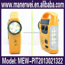 High Quality Emergency Super Bright Solar Dynamo Crank Torch with FM Radio dynamo torchlight