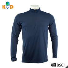 Guangzhou 100% polyester 150g 75d Spring Casual blue long Sleeve Plain Dyed Mens polo Neck T shirt plain