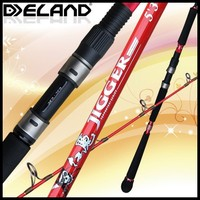 Deland Red Devils Red Color Jigging Spinning Fishing Rod/2 Sections China Parts Spinning Fishing Rod