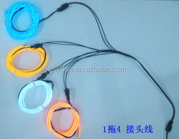 Flydee 5 4 3 2 in 1 Splitter Connector Cable Line EL Wire Neon Strip Light extension wire customized size accepted