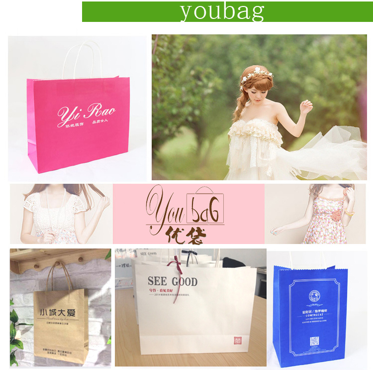 Eco friendly Brown kraft blue paper bag printing