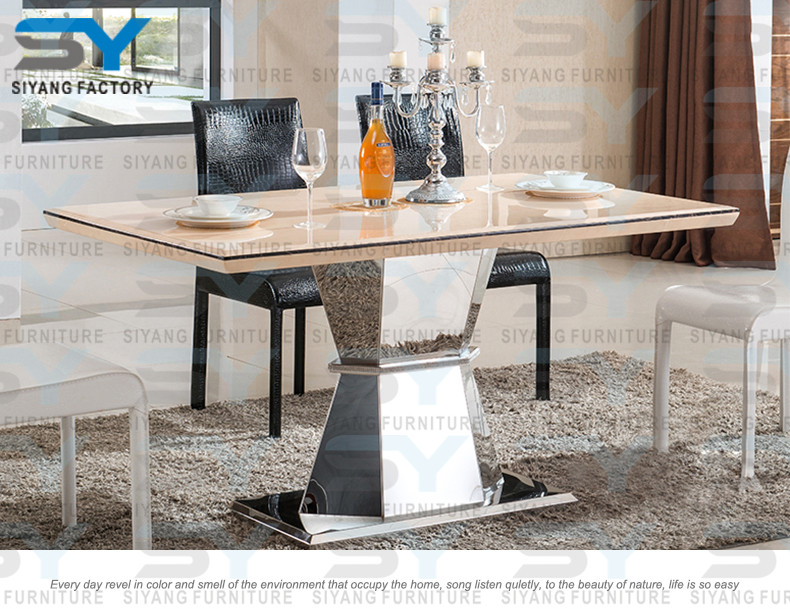 Lecong furniture marble dining set dinning room table luxury dining table CT033
