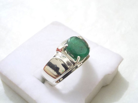 Emerald / Zumurrad Ring / Green Stone for Men in 925 Sterling Silver
