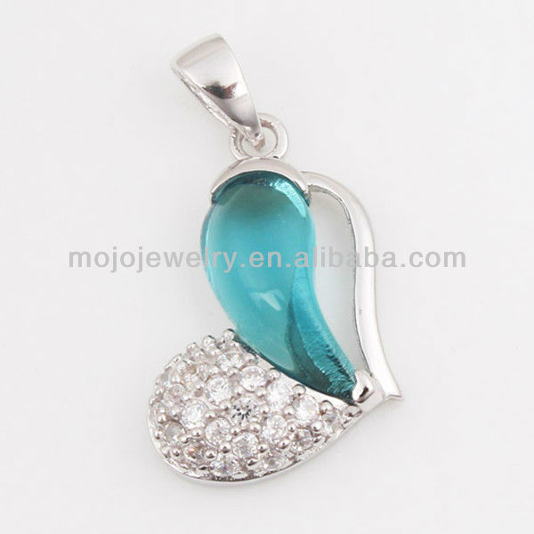 "Yiwu Design ""Heart"" Shape 925 Sterling Silver with Blue Zircon Stones"