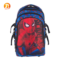 High quality children 3D cartoon pattern 840D spiderman blue kids boys school trolley bag with wheel