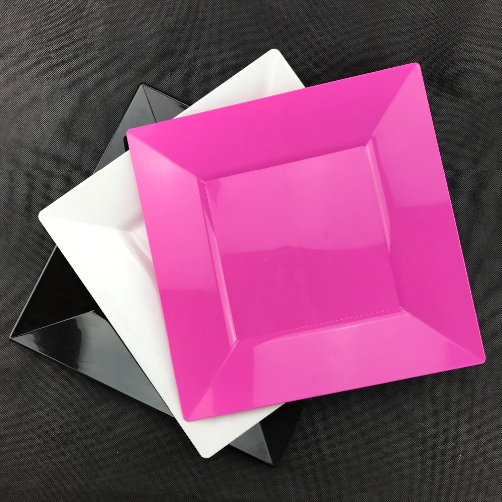 10.75 Inch Colored Disposable Plastic Square Dinner Plate