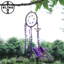 >>>Hot Sales New Dream Catcher with Purple Floral Feather Car Wall Hanging Decor Ornament Crafts
