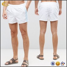 Ecoach Wholesale OEM Men Custom Logo Side Contrast Stripes White Swim Shorts Blank Design Beach Board shorts with Slant pockets