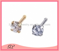 Beautiful zircon 316L steel indian nickel free nose rings