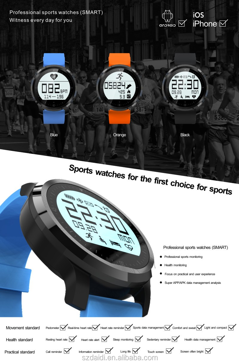 Touch screen smart watch for Android phone with muti-function accept paypal