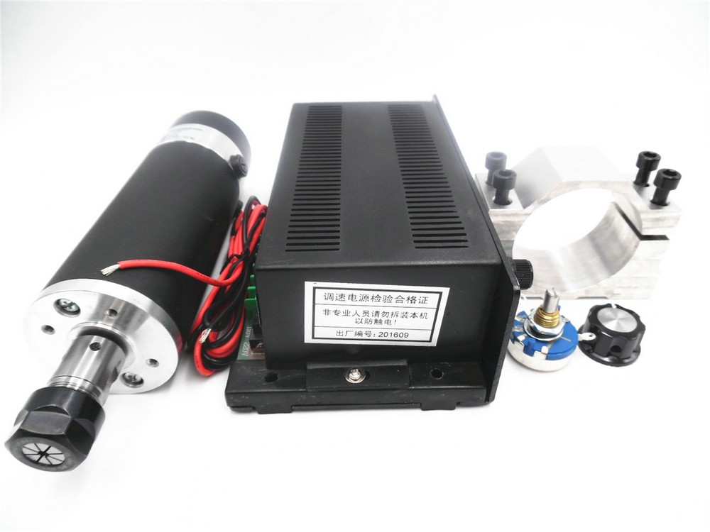 600w ER16 CNC DC Spindle Motor+Mach3 Speed Control Power Supply+Mounting Bracket Kit 100V DC 0.6NM for CNC DIY PCB
