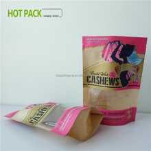 resealable window powder packaging paper material bag kraft with zipper for seed