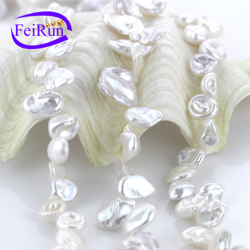10mm AA grade natural unique Keshi pearl string irregular shape