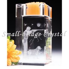 3d laser engraved Block crystal candle holder for home decoration