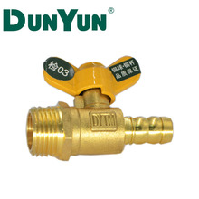 Brass male gas ball valve level handle Gas Valve with barb fittings