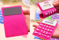 solar and battery silicone mini pocket and fancy calculator with magnet