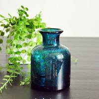 Hand Blown Bubble Art Color Glass Vase
