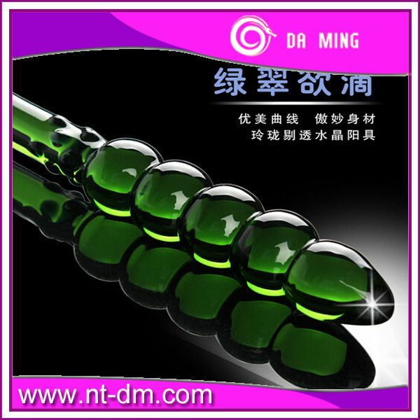 Long green Glass Dildo