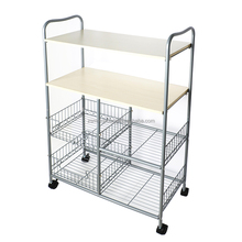 Movable MDF kitchen trolley wire shelf with baskets