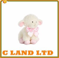 Baby Safe Plush Lamb with Pink Bow