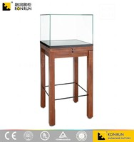 Professional Design!Beautiful Durable Solid Wood Ultra Clear Glass Plate Museum Display Showcase with Locks