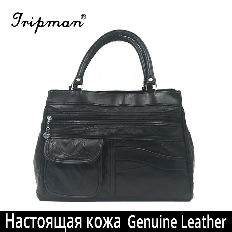 New Arrival Real Leather Women <strong>Bags</strong> Soft Patchwork Sheepskin Real Leather Handbags Fashion Black Tote <strong>Bags</strong>