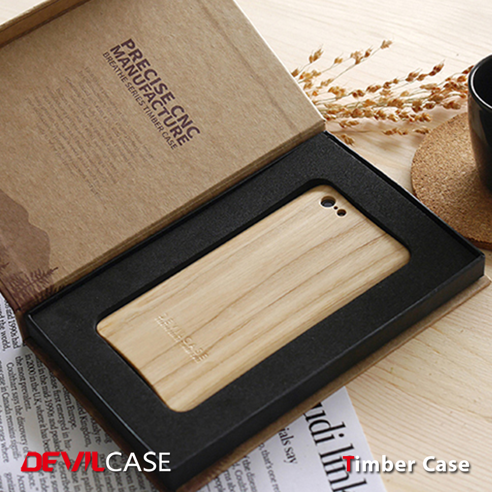 [DEVILCASE] Natural Textured Real Timber Wooden Auto Mobile Phone Device Cover for iPhone 5 5s SE Smart Hand Phone