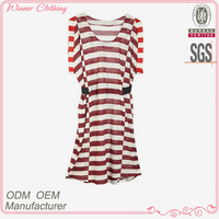 2016 new arrival best quality fashion ladies white and red stripe dress